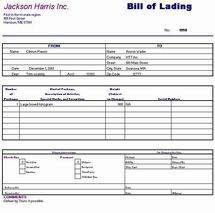 Piographics Bill of Lading sample